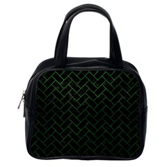 Brick2 Black Marble & Green Leather Classic Handbags (one Side)
