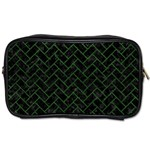 BRICK2 BLACK MARBLE & GREEN LEATHER Toiletries Bags Front