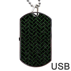 Brick2 Black Marble & Green Leather Dog Tag Usb Flash (one Side)