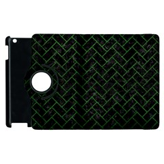 Brick2 Black Marble & Green Leather Apple Ipad 3/4 Flip 360 Case