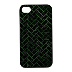 Brick2 Black Marble & Green Leather Apple Iphone 4/4s Hardshell Case With Stand