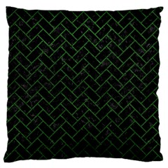 Brick2 Black Marble & Green Leather Standard Flano Cushion Case (two Sides)
