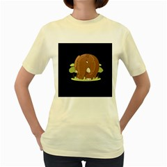 Cute Elephant Women s Yellow T Shirt