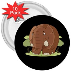 Cute Elephant 3  Buttons (10 Pack)