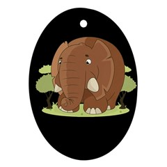 Cute Elephant Oval Ornament (two Sides)