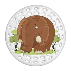 Cute Elephant Round Filigree Ornament (two Sides)