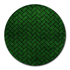 Brick2 Black Marble & Green Leather (r) Round Mousepads