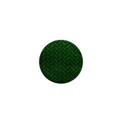 Brick2 Black Marble & Green Leather (r) 1  Mini Buttons