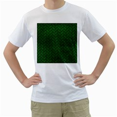 Brick2 Black Marble & Green Leather (r) Men s T Shirt (white) (two Sided)