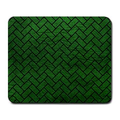 Brick2 Black Marble & Green Leather (r) Large Mousepads