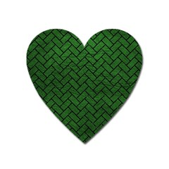 Brick2 Black Marble & Green Leather (r) Heart Magnet