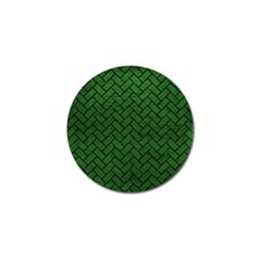 Brick2 Black Marble & Green Leather (r) Golf Ball Marker (10 Pack)