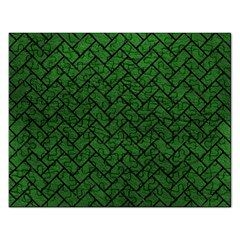 Brick2 Black Marble & Green Leather (r) Rectangular Jigsaw Puzzl