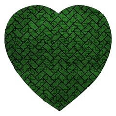 Brick2 Black Marble & Green Leather (r) Jigsaw Puzzle (heart)