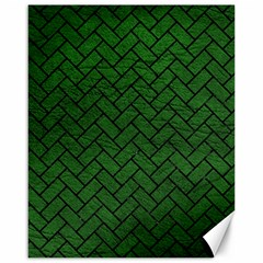 Brick2 Black Marble & Green Leather (r) Canvas 16  X 20