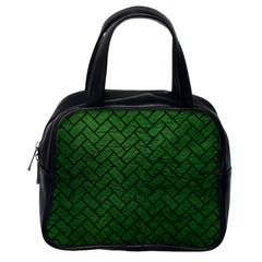 Brick2 Black Marble & Green Leather (r) Classic Handbags (one Side)