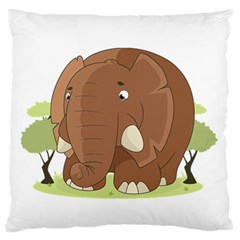 Cute Elephant Large Flano Cushion Case (one Side)