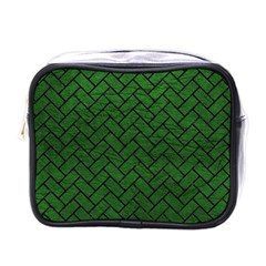 Brick2 Black Marble & Green Leather (r) Mini Toiletries Bags