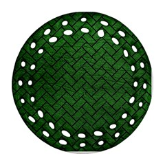 Brick2 Black Marble & Green Leather (r) Round Filigree Ornament (two Sides)