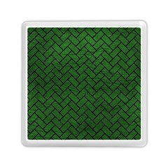 Brick2 Black Marble & Green Leather (r) Memory Card Reader (square)