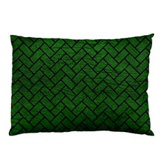 Brick2 Black Marble & Green Leather (r) Pillow Case (two Sides)