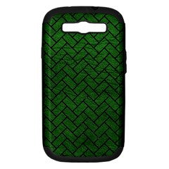 Brick2 Black Marble & Green Leather (r) Samsung Galaxy S Iii Hardshell Case (pc+silicone)