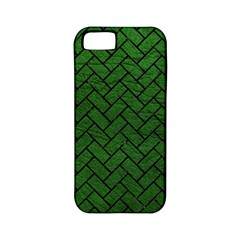 Brick2 Black Marble & Green Leather (r) Apple Iphone 5 Classic Hardshell Case (pc+silicone)