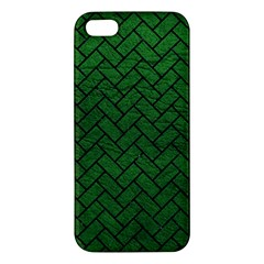 Brick2 Black Marble & Green Leather (r) Apple Iphone 5 Premium Hardshell Case