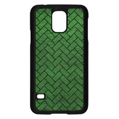 Brick2 Black Marble & Green Leather (r) Samsung Galaxy S5 Case (black)