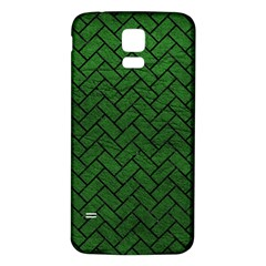 Brick2 Black Marble & Green Leather (r) Samsung Galaxy S5 Back Case (white)