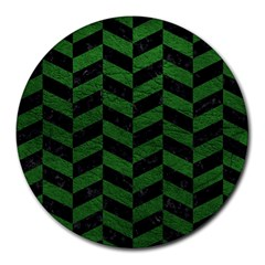 Chevron1 Black Marble & Green Leather Round Mousepads