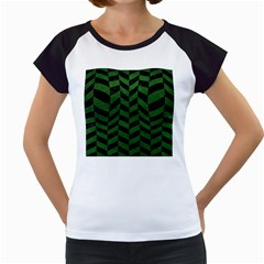 Chevron1 Black Marble & Green Leather Women s Cap Sleeve T