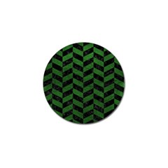 Chevron1 Black Marble & Green Leather Golf Ball Marker (10 Pack)