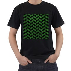 Chevron1 Black Marble & Green Leather Men s T Shirt (black) (two Sided)