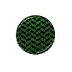 Chevron1 Black Marble & Green Leather Hat Clip Ball Marker