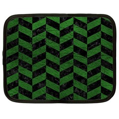 Chevron1 Black Marble & Green Leather Netbook Case (large)