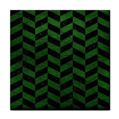 Chevron1 Black Marble & Green Leather Face Towel