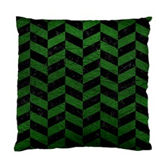 Chevron1 Black Marble & Green Leather Standard Cushion Case (one Side)