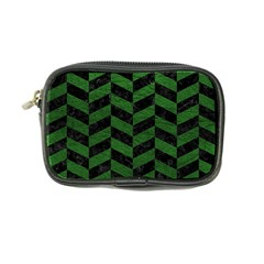 Chevron1 Black Marble & Green Leather Coin Purse