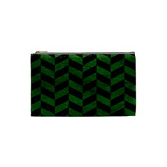 Chevron1 Black Marble & Green Leather Cosmetic Bag (small)