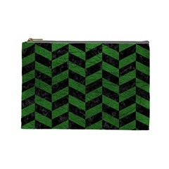 Chevron1 Black Marble & Green Leather Cosmetic Bag (large)
