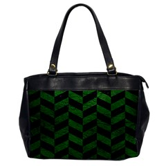 Chevron1 Black Marble & Green Leather Office Handbags