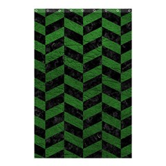 Chevron1 Black Marble & Green Leather Shower Curtain 48  X 72  (small)