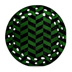 Chevron1 Black Marble & Green Leather Round Filigree Ornament (two Sides)