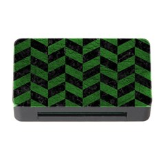 Chevron1 Black Marble & Green Leather Memory Card Reader With Cf