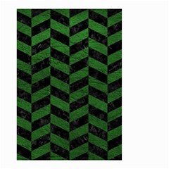 Chevron1 Black Marble & Green Leather Small Garden Flag (two Sides)