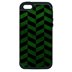Chevron1 Black Marble & Green Leather Apple Iphone 5 Hardshell Case (pc+silicone)