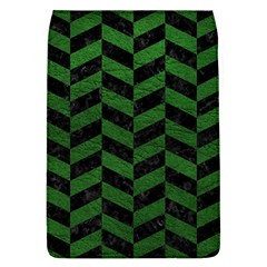 Chevron1 Black Marble & Green Leather Flap Covers (l)