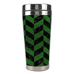 Chevron1 Black Marble & Green Leather Stainless Steel Travel Tumblers