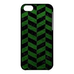 Chevron1 Black Marble & Green Leather Apple Iphone 5c Hardshell Case